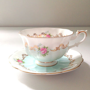 English Bone China Royal Albert Teacup & Saucer Invitation Series Chateau Blue / Soft Aqua Avon Shape Rare - Ca. 1962 - 1970's