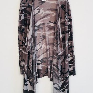 Snow Camo Open Cardigan