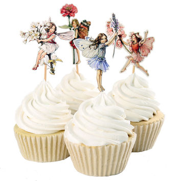 48pcs Flower Fairy Cupcake Toppers Picks for Any Party Cake Decoration Favor