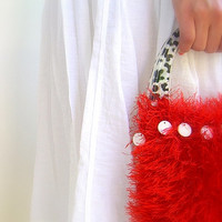 Fluffy Knitted Hand Bag, Red Luxury yarn, Cheetah Plastic Handles, Zebra Lining, Handmade, Mother Of Pearl Beads