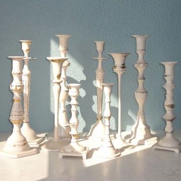 Vintage White Wedding Candlestick Centerpieces Made to Order
