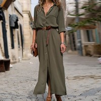 DeRuiLaDy 2018 New Fashion Women Casual Long Dress Women Autumn Winter Long Sleeve Button Shirt Maxi Dresses Ladies Vestido