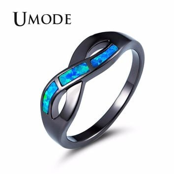 UMODE Ocean Wave Blue Fire Opal Rings for Women Female Vintage Black Gold Jewelry Girls Wedding Accessories bijoux femme UR0429
