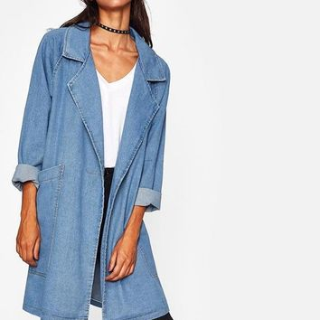Pockets Long line Denim Coat Denim Jacket Women Blue Lapel Long Sleeve Casual Fall Jackets