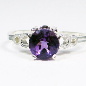 Amethyst Bubble Ring Sterling Silver Ring