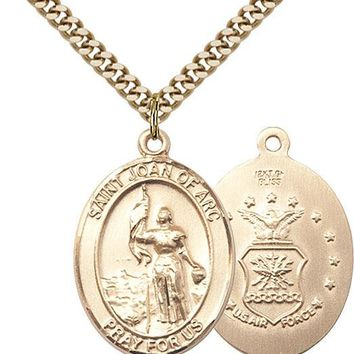 14K Gold Filled St Joan Of Arc Air Force Military Catholic Medal Necklace 617759924671