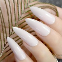 Pointed Extra Long Fake Nails Fashion Nude Pink Plastics Full Nails Shiny Manicure Tips with Glue Sticker