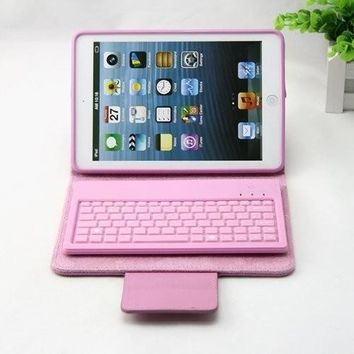 Pink Leather Case w/Removable Wireless Bluetooth Keyboard For iPad Mini