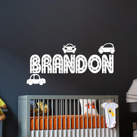 Personalized Name Decal Car Road Racing Boy Nursery Room Wall Decal  Vinyl Sticker Wall Decor Home Interior Design Art Mural vk84