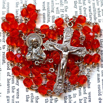 Sacred Heart Rosary - Catholic Rosary, Fiery Orange Faceted Czech Glass Beads