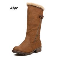 Winter boots Autumn boots women shoes woman snow boots new 2016 latest fashion buckle zipper decoration plus plush within
