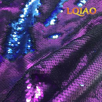 LQIAO 45*125cm Matte Purple-Blue Reversible Sequin Fabric Mermaid Sequin Fabric,DIY Sewing Fabric For Cushion Backrest Clothes