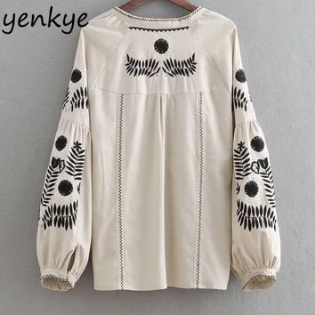 Trendy Women Vintage Beige Embroidery Jacket Lady Tassel Lace Up O Neck Lantern Sleeve Plus Size Jacket Autumn Outerwear chaqueta mujer AT_94_13