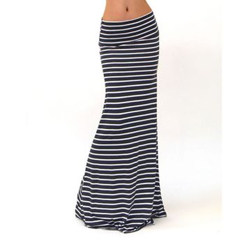 Summer Skirt Women Fashions Asymmetric High Waist Striped Fold Over Stretch Black Long Maxi Skirt#2511