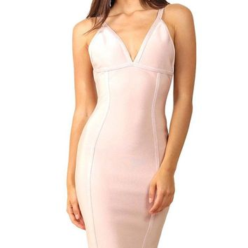 Independent Woman Sleeveless Plunge V Neck Fluted Ruffle Hem Bodycon Bandage Midi Dress - 3 Colors Available