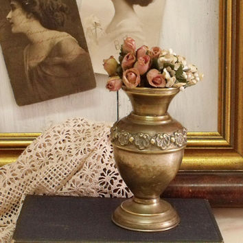 Vintage victorian ornated metal vase small embossed brass French chic vase