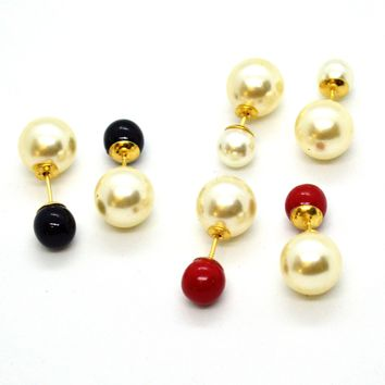 (1-1042-h10) Gold Overlay Colored Double Pearl Earrings.