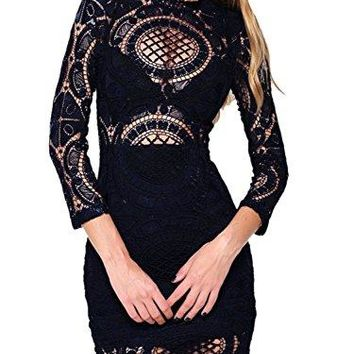 Choies Women's Black White Lace Bodycon Mini Dress with Long Sleeve
