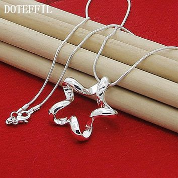 925 Sterling Silver  18 Inches Starfish Pendant Necklace