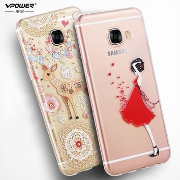 Vpower for samsung galaxy c5 case 3d relief for galaxy c5 tpu soft transparent CASE Phone Cover For samsung c5 with custom made