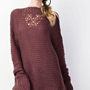 Easel oversized sweater with front crochet detail