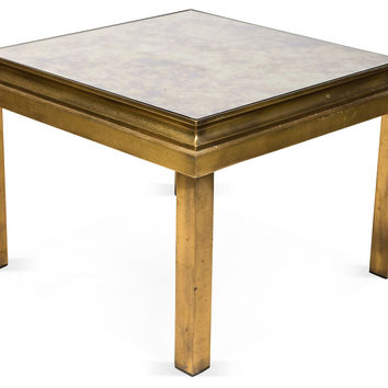 Brass Mirrored End Tables, Pair, Side Table