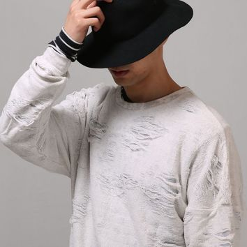 Mens Oversize Drop Shoulder Destroyed Towelling Sweatshirt at Fabrixquare