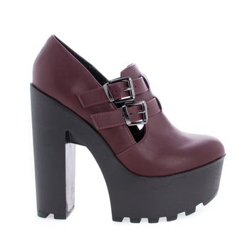 Zealand Red Red By Soda, Double Buckle Ankle Strap Lug sole Platform Chunky Heels