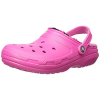 Crocs Womens Classic Lined Pattern Casual Faux Fur Clogs