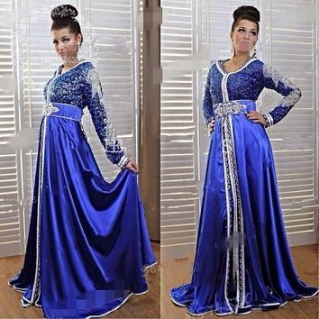 2017 Arabic Kaftan Royal Blue Dubai Evening Dress Long Sleeves V-Neck islamic Caftan Formal Party Gowns Prom Vestidos de Fiesta