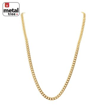 """Jewelry Kay style Men's 7 mm Solid 14K Gold Plated Stainless Steel Cuban Link Chain Necklace 30"""""""
