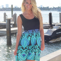Black Short Dress with Multi Color Printed Bottom