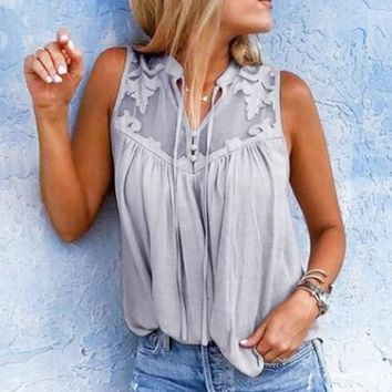 Fashion New Summer Solid Color Mesh Vest Top Gray