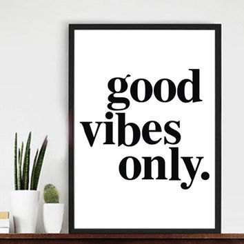 """""""good vibes only"""" Canvas Paintings Black White Quotes Nursery Wall Art Poster Print Pictures for Kids Room Home Decor Unframed"""