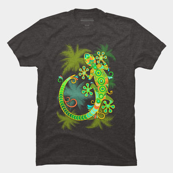 Gecko Lizard Colorful Tattoo Style T Shirt By BluedarkArt Design By Humans