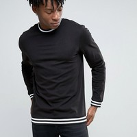 New Look Long Sleeve Top In Black With Stripe Detail at asos.com