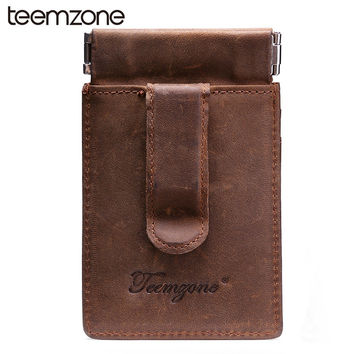 New Men's Genuine Leather Wallet Vintage Business Casual Credit Card ID Holder With Strong Magnet Money Clip Strong Coin Wallet