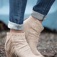 Missed Calls Fringe Suede Booties (Cream)