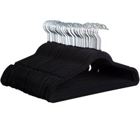 Zober Premium Quality Space Saving Velvet Hangers Strong and Durable Hold Up To 10 Lbs - 360 Degree Chrome Swivel Hook - Ultra Thin Non Slip Suit Hangers, Black - 50 pack
