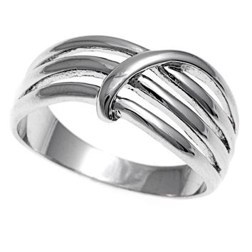 925 Sterling Silver Tri Row Designer Style 10MM Ring