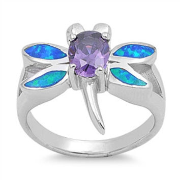 925 Sterling Silver CZ Dragonfly Blue Lab Opal Simulated Amethyst Ring