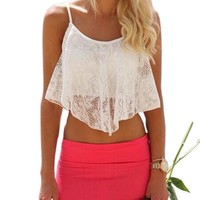 Sexy Women Lace Floral Croptop