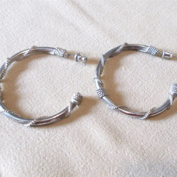 Vintage 80's Large Rope Wrapped Silver Post Hoop Earrings, Simple Elegant Retro Fashion Jewelry, Unique Simple Light Weight Open End Hoops