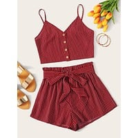 SHEIN Button Front Striped Top and Paperbag Waist Shorts Set