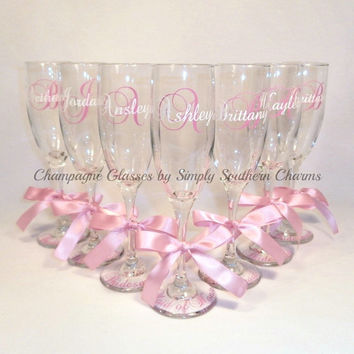 9 Personalized Bride and Bridesmaid Champagne Flutes, Wedding Party Glasses