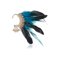 River Island Womens Blue statement feather ear cuff