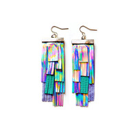 Holographic Leather Statement Fringe Earrings, Handmade Geometric Earrings | Boo and Boo Factory - Handmade Leather Jewelry