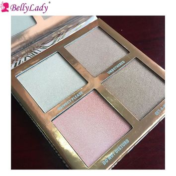 BellyLady 4 Colors Long-lasting Shimmer Eyeshadow Pallete Highlight Bronzing Powder Face Contour Kit