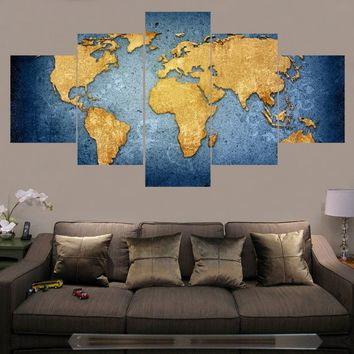 Unframed Modern Abstract Wall Art Painting World Map Canvas Painting for Living Room HomeDecor Picture