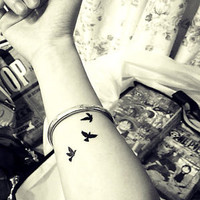 Temporary Tattoo Black Swallow Birds  TT426 Wrist Ankle Finger Tattoos